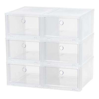 6-Pair Clear Wide Pull Down Front Access Shoe Box Plastic Shoe Organizer