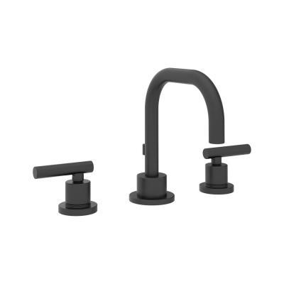 Modern 8 in. Widespread 2-Handle Bathroom Faucet with Drain Assembly in Matte Black