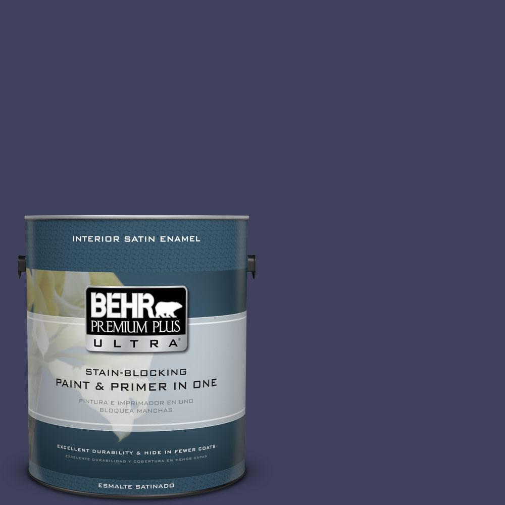 BEHR Premium Plus Ultra 1-gal. #PMD-92 Darkest Navy Satin Enamel Interior Paint