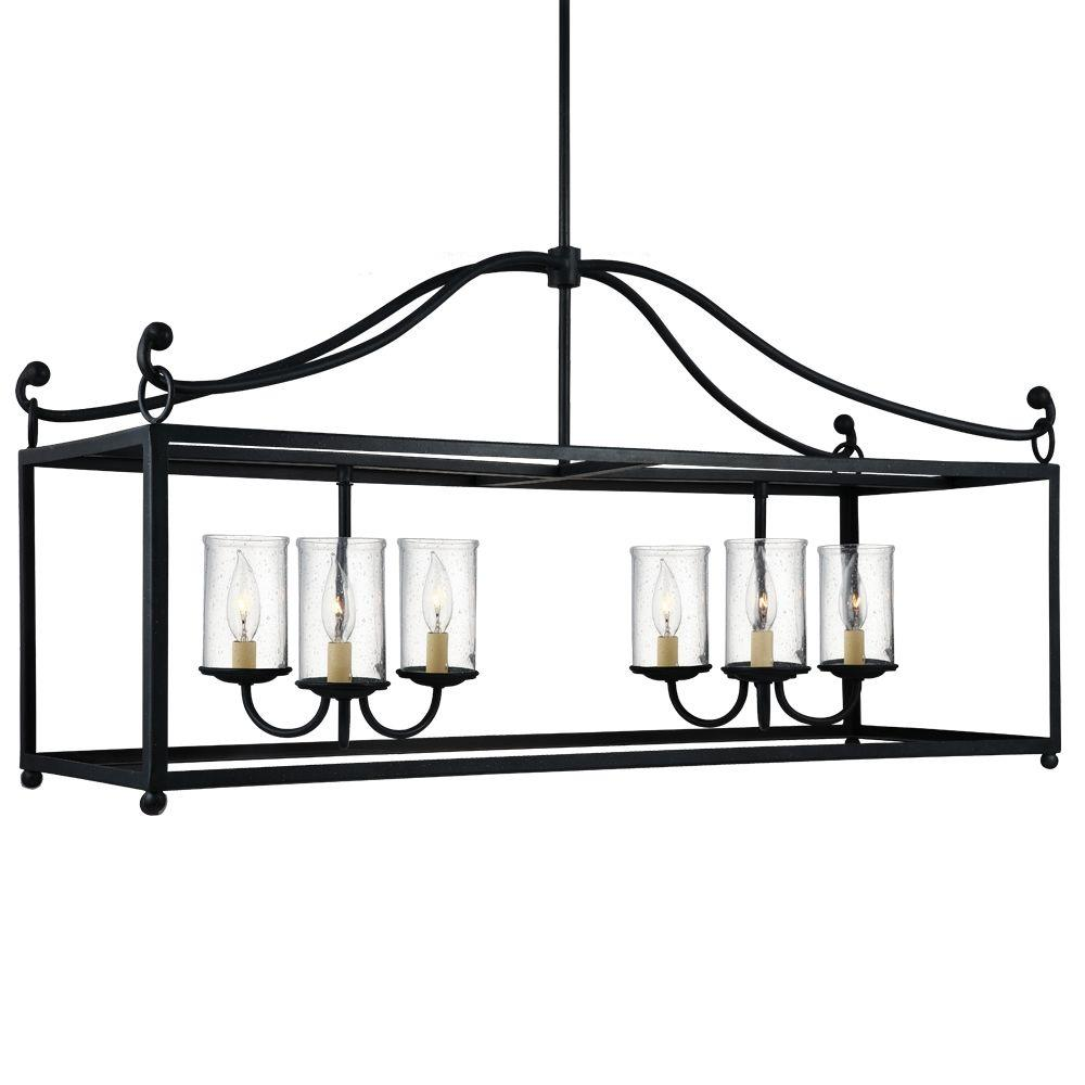 Declaration 6-Light Antique Forged Iron Chandelier with Clear Seeded Glass Shade