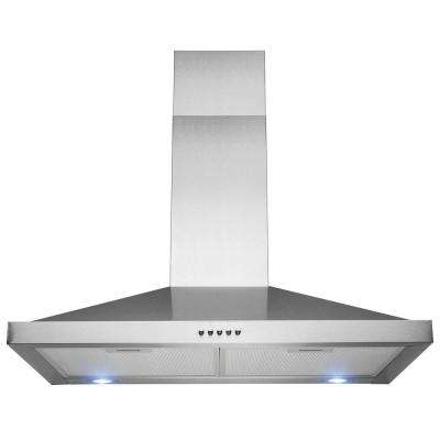 30 in. Wall Mount Range Hood in Stainless Steel with LEDs and Push Control