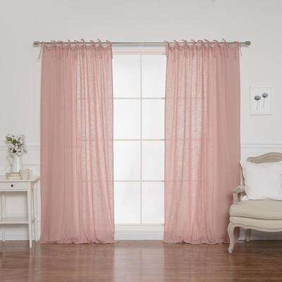 84 in. L Cotton Gauze Curtains in Pink (2-Pack)