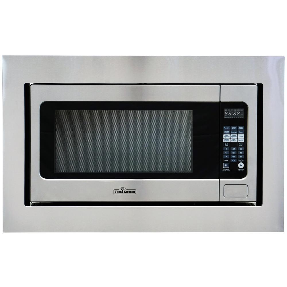 Thor kitchen 2 2 cu ft built in microwave in stainless steel with trim kit hmw 2203u the - Built in microwave home depot ...