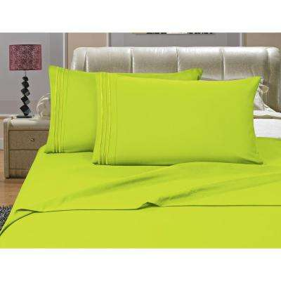 1500 Series 4-Piece Lime Triple Marrow Embroidered Pillowcases Microfiber King Size Bed Sheet Set