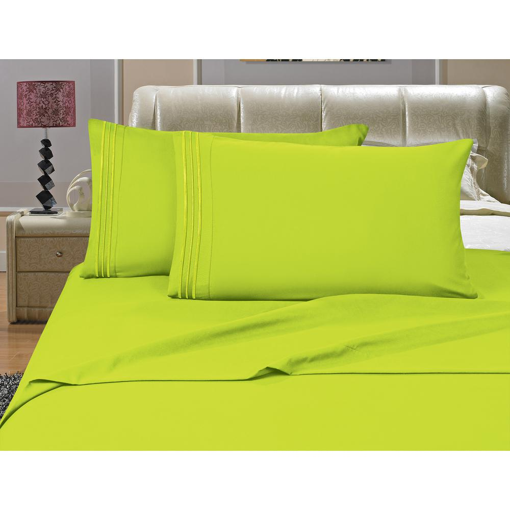 1500 Series 4-Piece Lime Triple Marrow Embroidered Pillowcases Microfiber Full