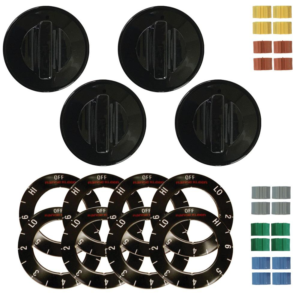 Range Kleen Electric Knob in Black (4-Pack) Range Kleen Knob Electric Black (4-Pack) fits most electric stoves with removable knobs. Black knobs are made of heat resistant plastic, come with a choice of inserts to fit more styles of electric stove. Also comes with Overlay choices to match your stove's oven or surface burner settings.