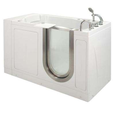 Petite 4.33 ft. x 28 in. Acrylic Walk-In Dual (Air and Hydro) Massage Bathtub in White with Right Drain/Door