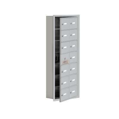 19100 Series 16.25 in. W x 40.75 in. H x 5.75 in. D 13 Doors Cell Phone Locker Recess Mount Keyed Lock in Aluminum