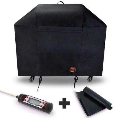 Grill Cover for Weber Genesis II With 2-Burners Free Bonus Meat and Poultry Thermometer BBQ Grilling Matt