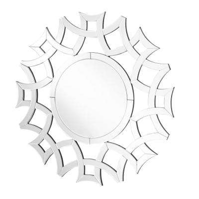 Emory 39.5 in. Contemporary Round Mirror with Clear MDF Frame, Octagon Shape, Mounting Type: D Ring