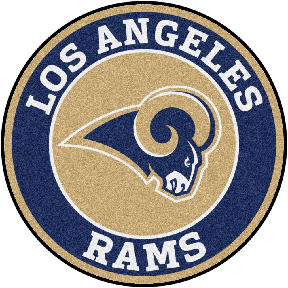 Fanmats Nfl Los Angeles Rams Navy 2 Ft Round Area Rug 17976 The Home Depot