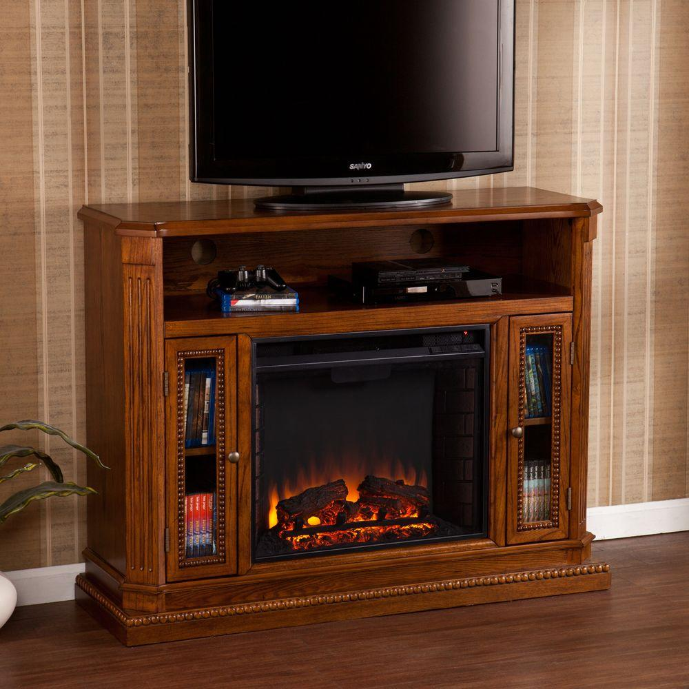 Southern Enterprises Aair 47 In. Freestanding Media Electric Fireplace In  Rich Brown Oak