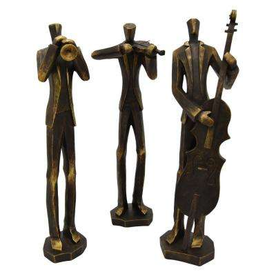 19 in. Bronze Musician Figurines (Set of 3)