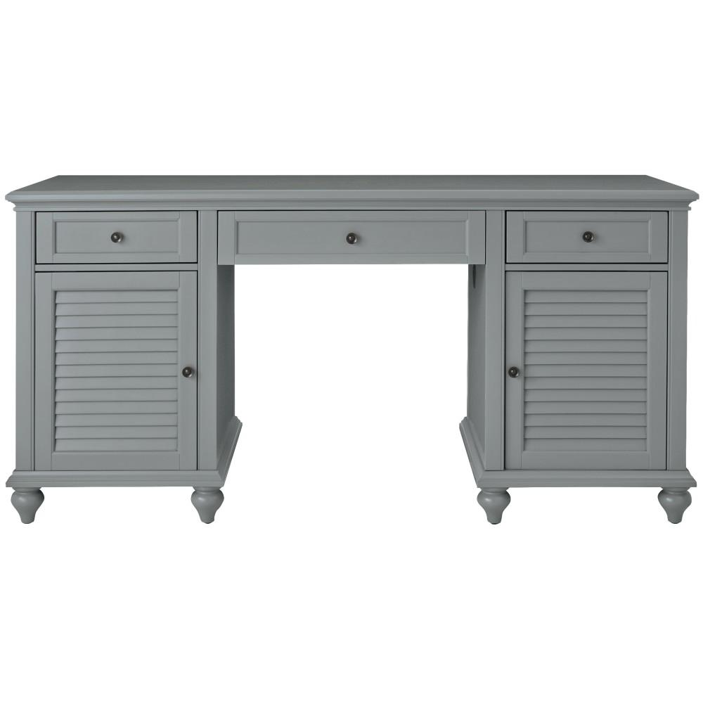 Home Decorators Collection 63 in. Gray Rectangular 3 -Drawer Computer Desk with Keyboard Tray was $873.75 now $524.25 (40.0% off)