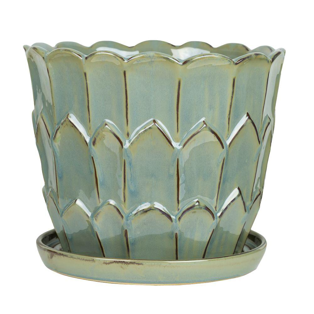 Pennington 11.75 in. Artichoke Green Ceramic Planter with Saucer