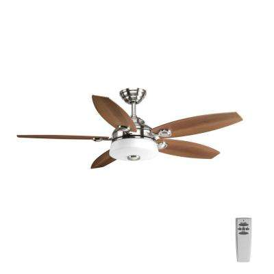 Graceful Collection 54 in. LED Indoor Brushed Nickel Ceiling Fan with Light Kit and Remote