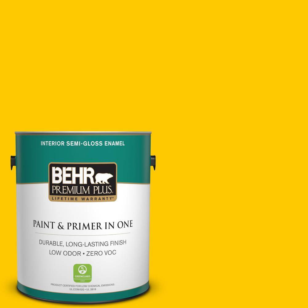BEHR Premium Plus 1-gal. #370B-7 Yellow Flash Zero VOC Semi-Gloss Enamel Interior Paint