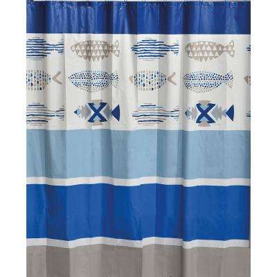 71 in. x 71 in. Blue Nautical Printed Peva Liner Shower Curtain