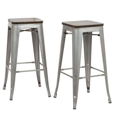 Cormac 30 in. Rustic Silver Wood Seat Bar Stool (Set of 2)