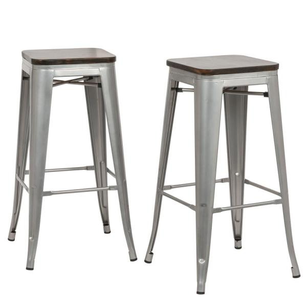 Superieur Carolina Forge Cormac 30 In. Rustic Silver Wood Seat Bar Stool (Set Of 2
