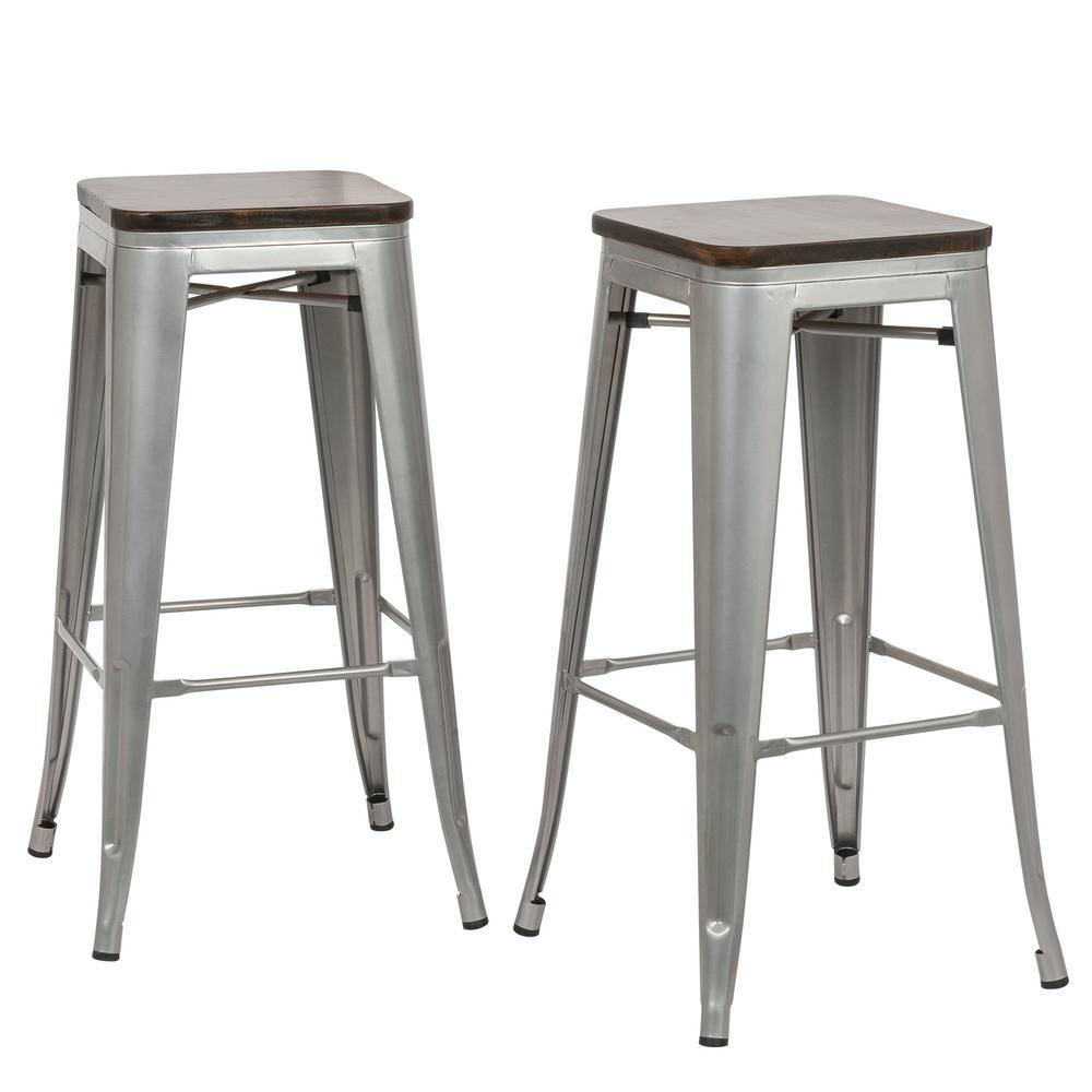 Rustic Silver Wood Seat Bar Stool Set Of 2