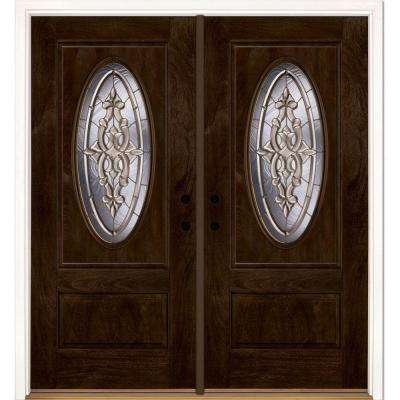 74 in.x81.625 in. Silverdale Brass 3/4 Oval Lt Stained Chestnut Mahogany Right-Hand Fiberglass Double Prehung Front Door