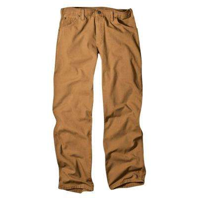 Relaxed Fit 30 in. x 32 in. Dungaree Jean Brown Duck