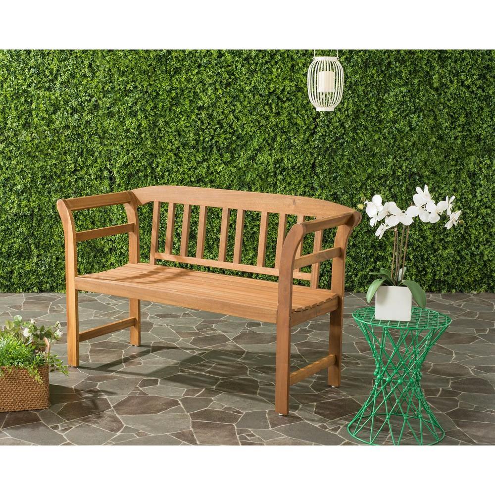 porterville outdoor 2 seat acacia patio bench in teak