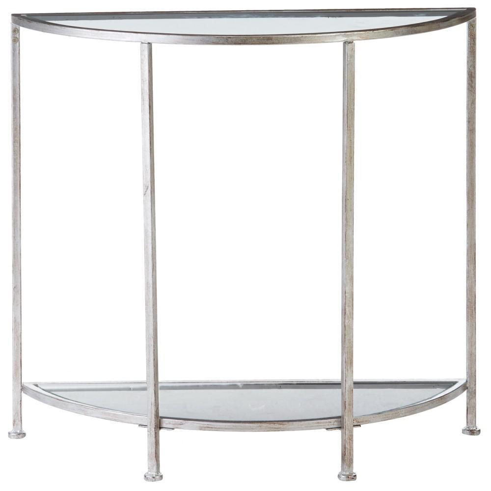 Bella Aged Silver Demilune Glass Console Table