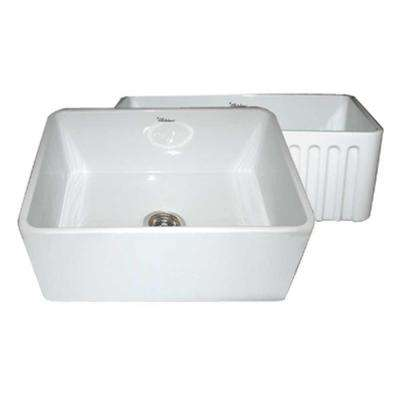 Reversible Farmhaus Apron Series Front Fireclay 24 in. 0 hole Single Bowl Kitchen Sink in White