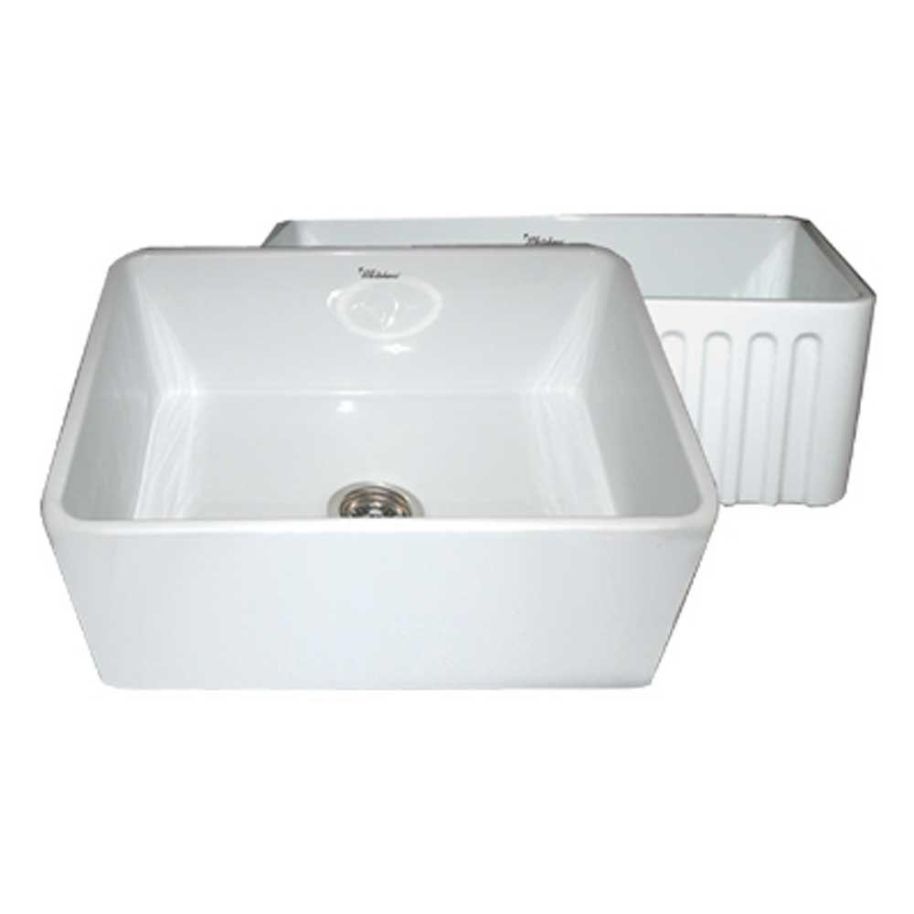 Reversible Farmhaus Farmhouse Apron Series Front Fireclay 24 in. 0 hole Single Bowl Kitchen Sink in White