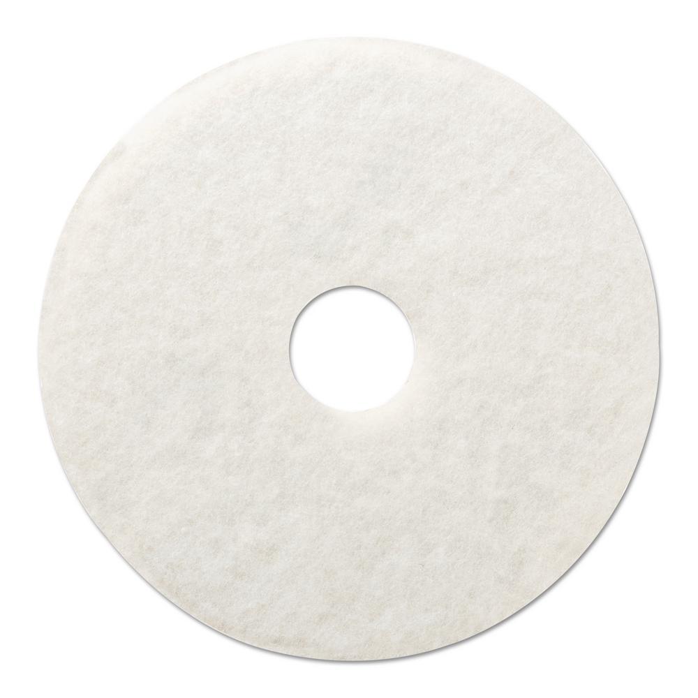 12 in. Dia Standard Polishing White Floor Pad (Case of 5)