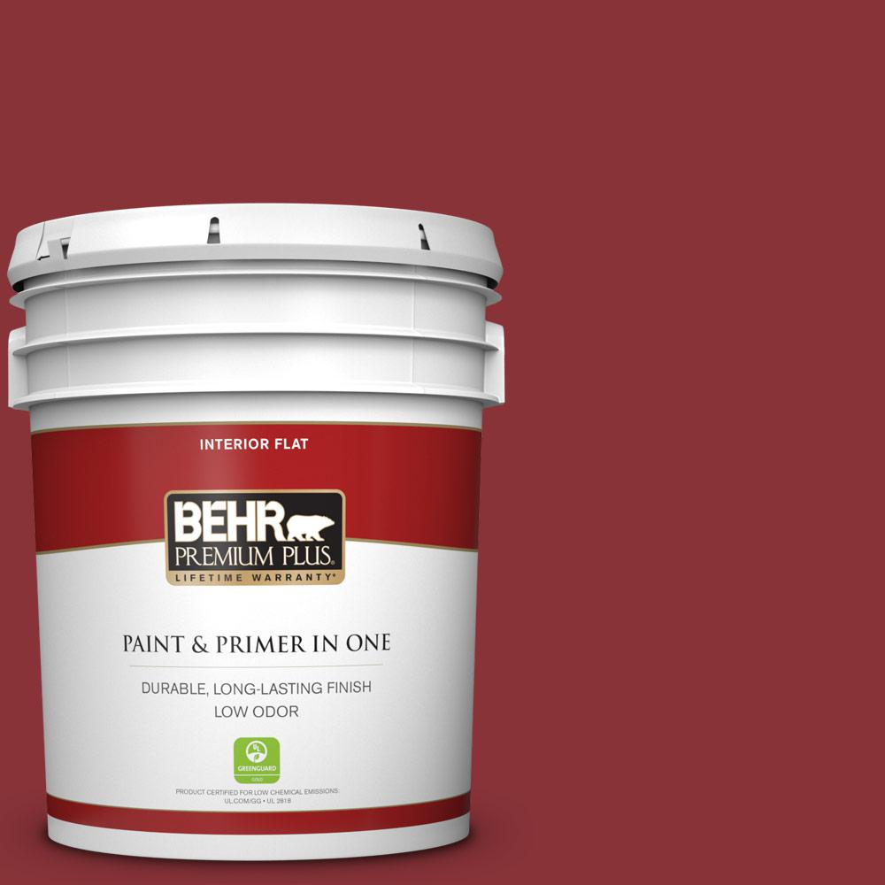 BEHR Premium Plus 5 Gal. #QE-07 Country Lane Red Flat Low