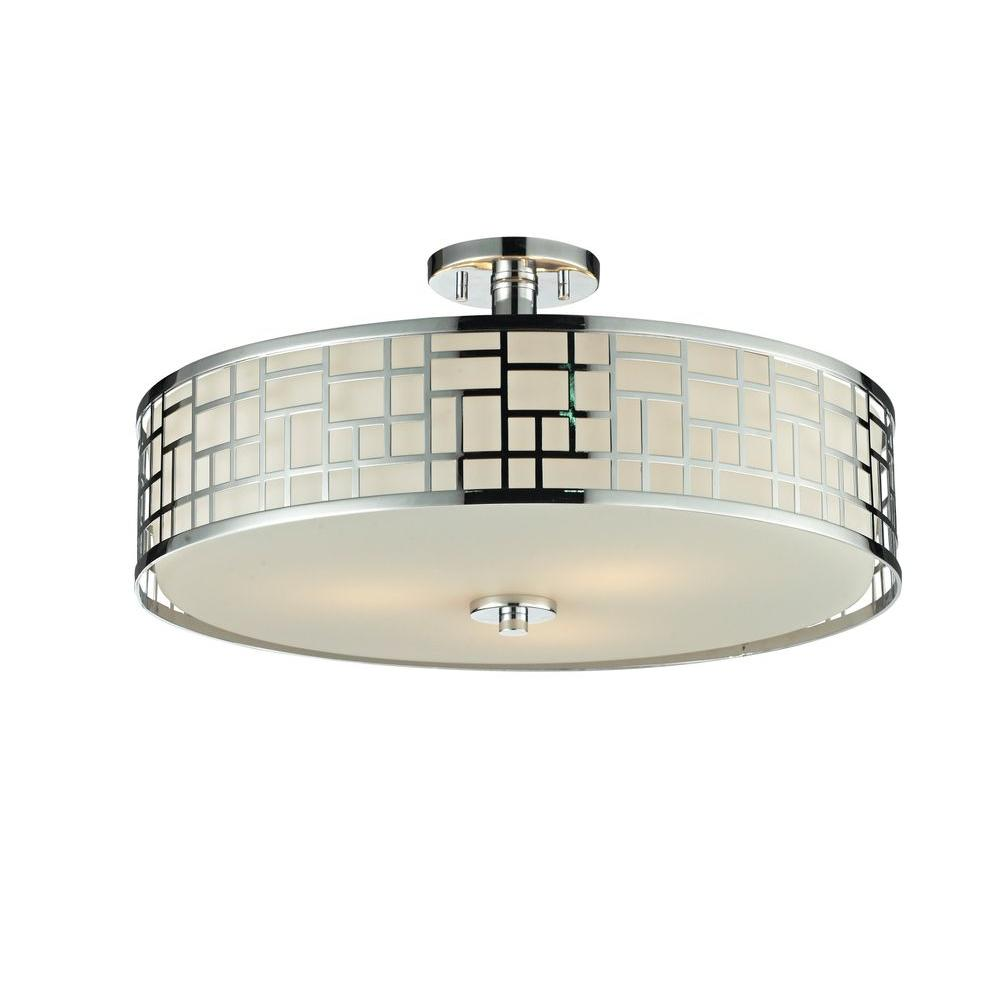 Velia 3-Light Chrome Modern Semi-Flush Mount with Round Matte Opal Glass
