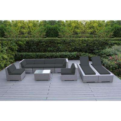 Gray 9-Piece Wicker Patio Combo Conversation Set with Sunbrella Coal Cushions