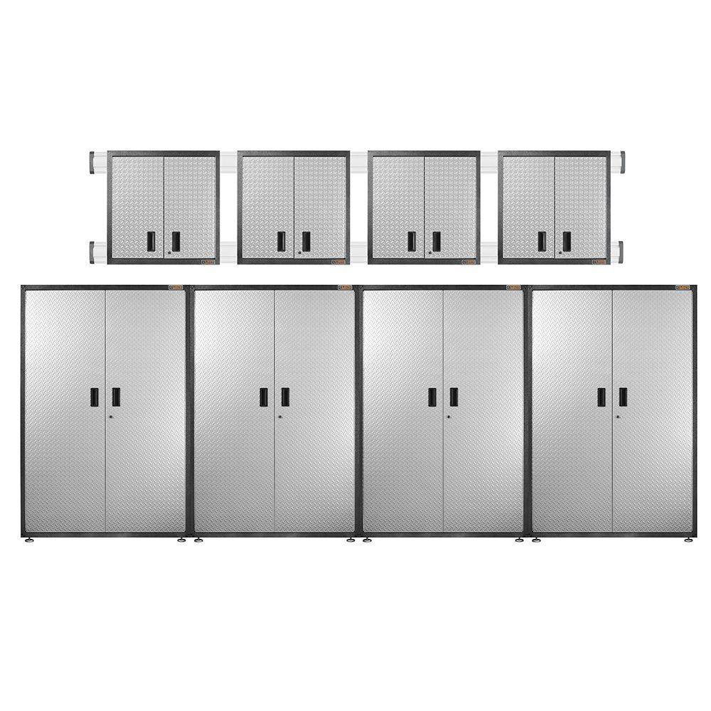 Gladiator Ready to Assemble 102 in. H x 192 in. W x 18 in. D Steel Garage Cabinet Set in Silver Tread (8-Pieces)