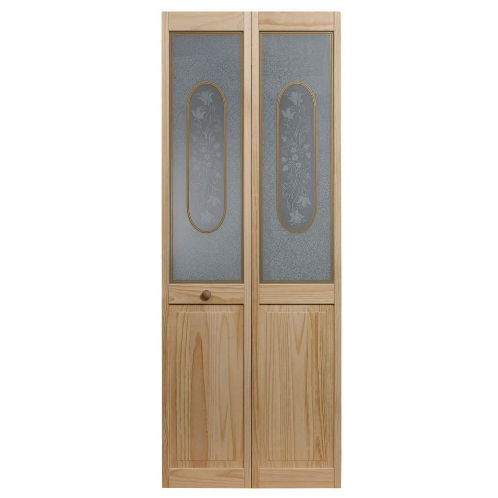 32 in. x 80 in. Glass Over Panel Victorian Wood Universal/Reversible