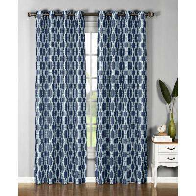Semi-Opaque Wesley Faux Silk Extra Wide 96 in. L Grommet Curtain Panel Pair, Navy (Set of 2)