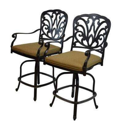 Hampton Aluminum Patio Bar Stool with Tan Cushion (2-Pack)