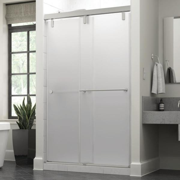 Everly 48 in. x 71-1/2 in. Mod Semi-Frameless Sliding Shower Door in Chrome and 3/8 in. (10mm) Niebla Glass
