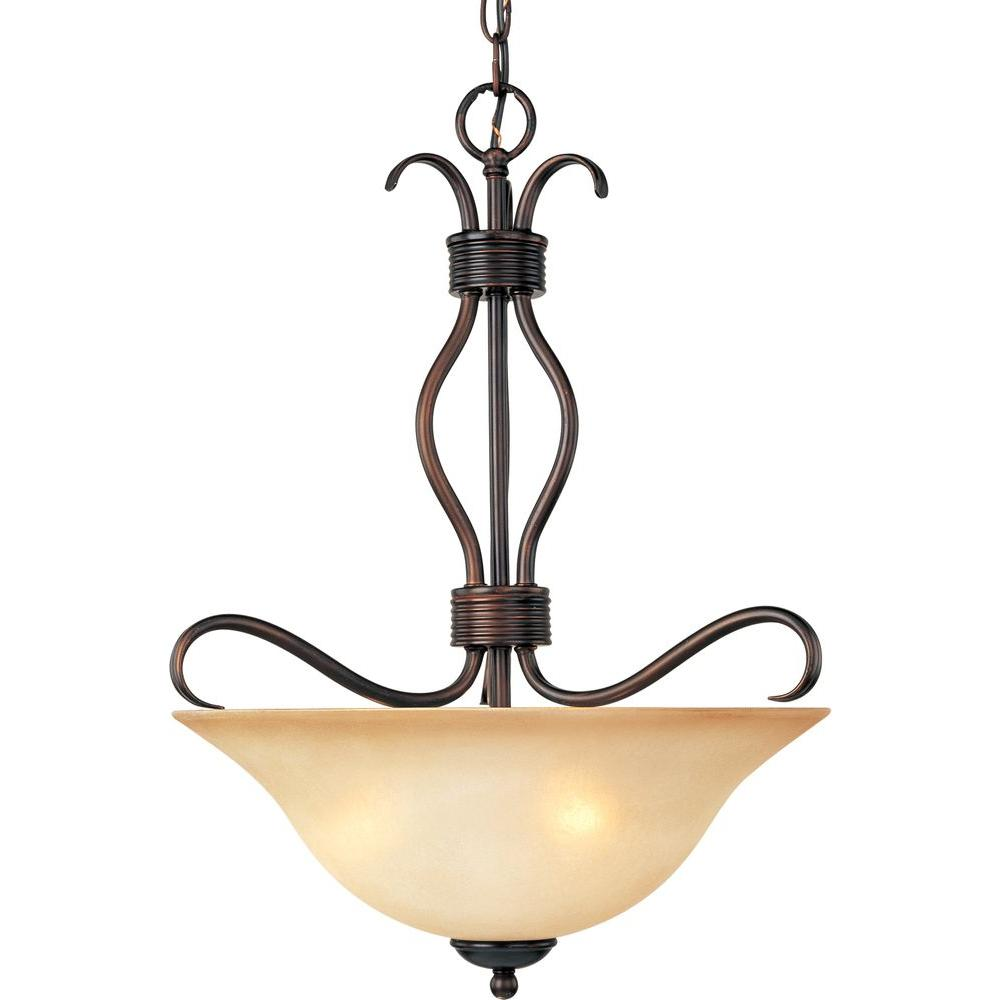Oriax 3 Light Invert Bowl Pendant with Wilshire Glass Oil Rubbed Rubbed Bronze-DISCONTINUED