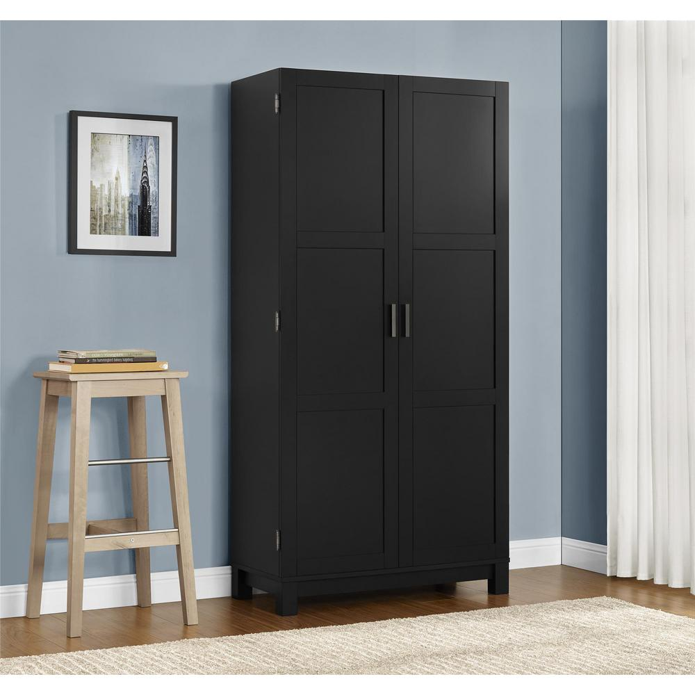 Altra furniture carver matte black storage cabinet for Flat black kitchen cabinets