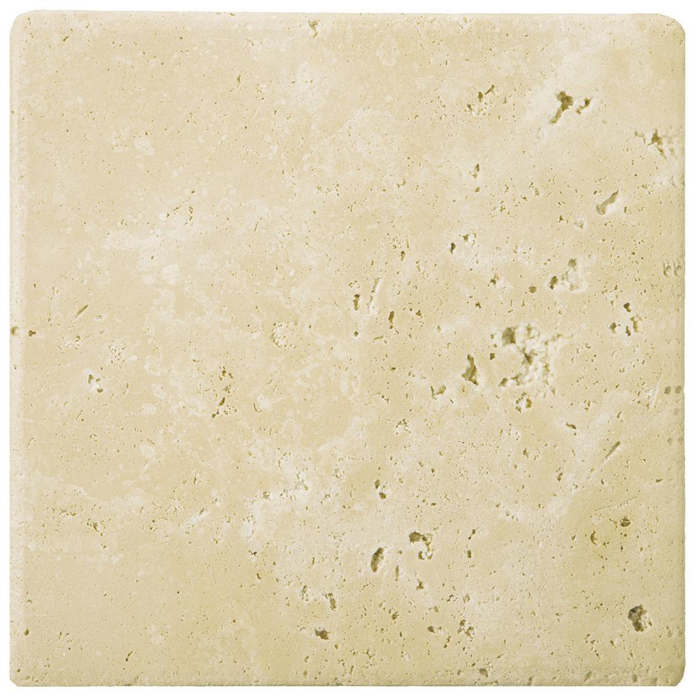 Trav Ancient Tumbled Beige 7.87 in. x 7.87 in. Travertine Wall
