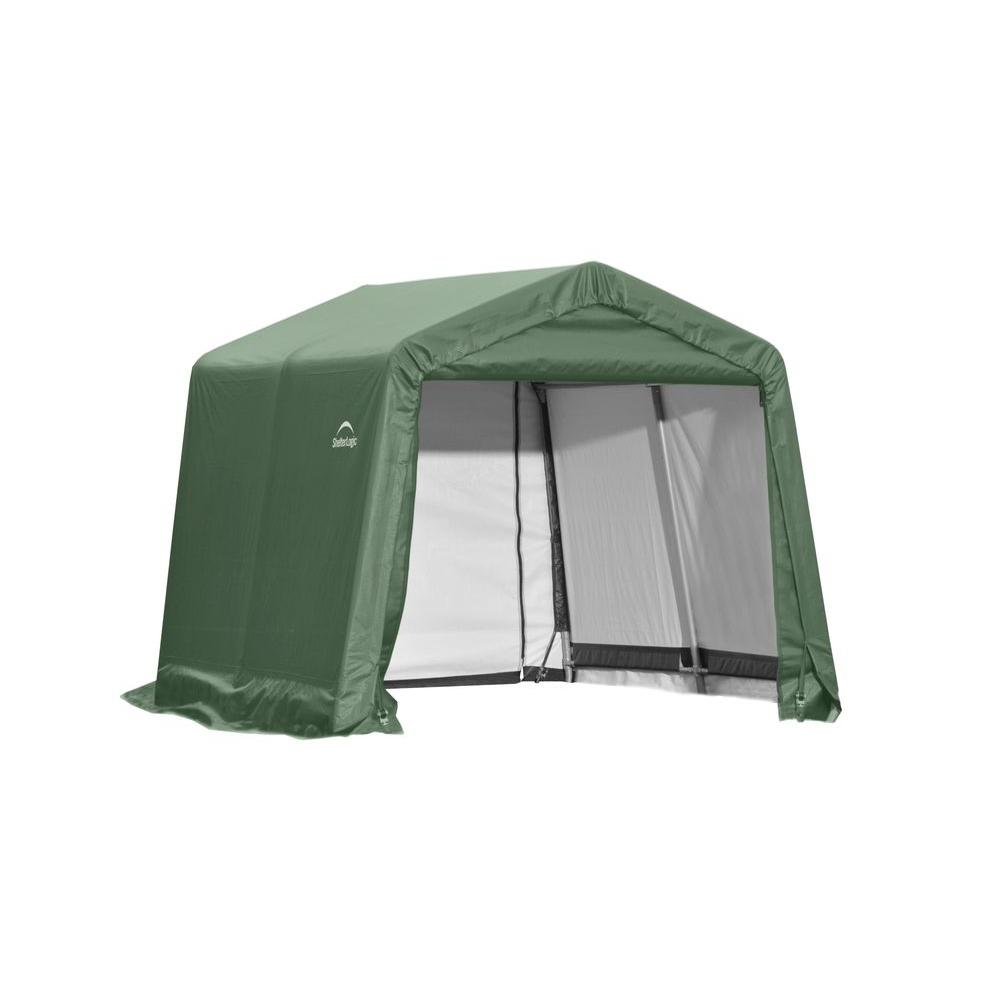 ShelterLogic 10 ft. x 8 ft. x 8 ft. Green Steel and Polyethylene Garage without Floor