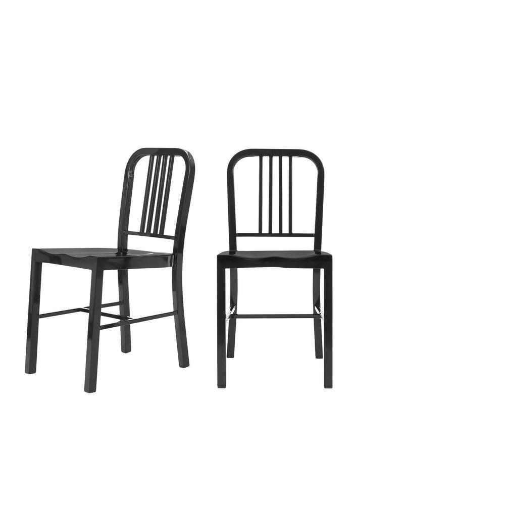 Kipling Black Metal Dining Chair (Set of 2) (15.94 in. W x 32.67 in. H)
