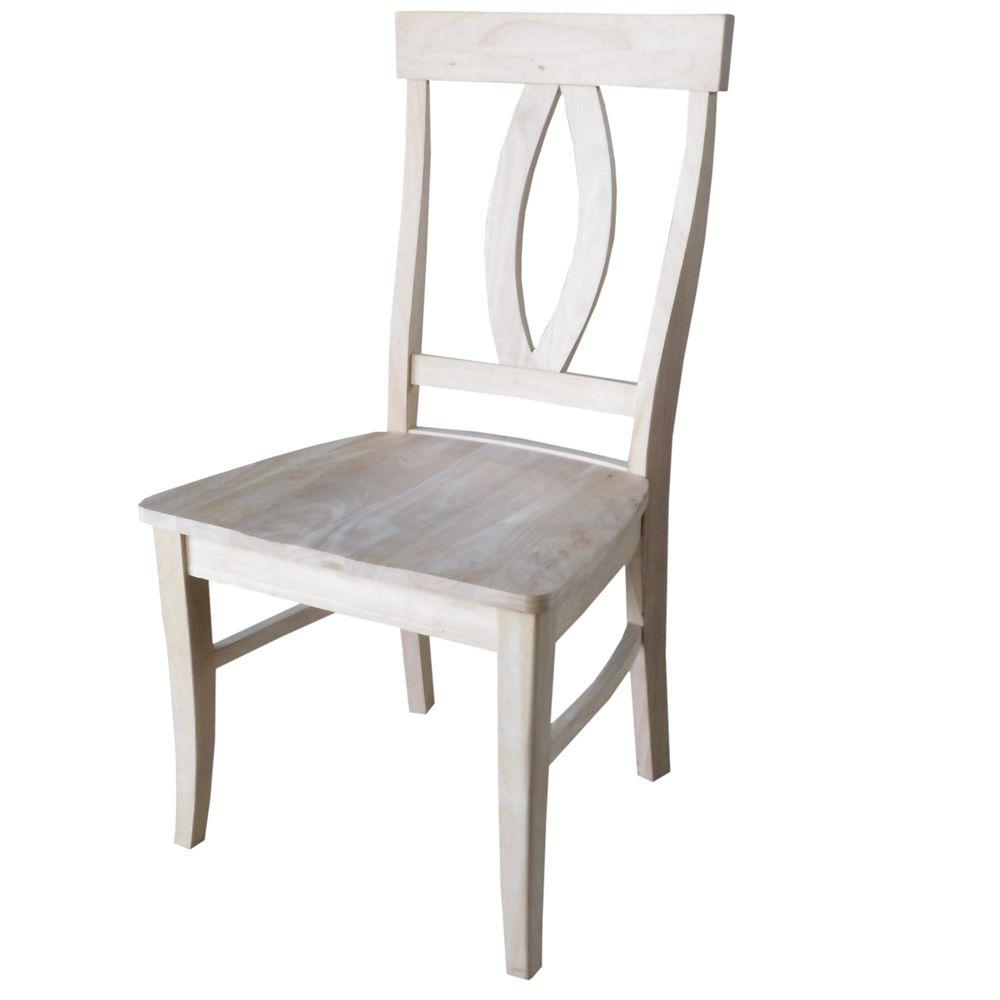 International Concepts Verona Unfinished Wood Dining Chai...