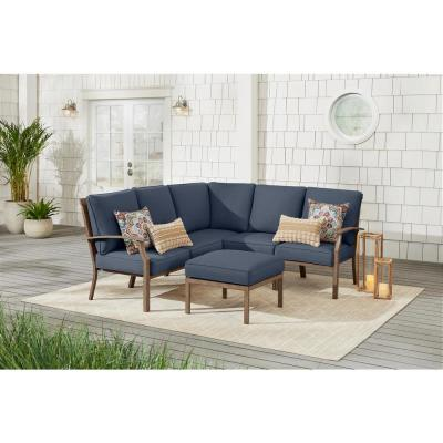 Geneva 6-Piece Brown Wicker Outdoor Patio Sectional Sofa Seating Set with Ottoman and CushionGuard Sky Blue Cushions