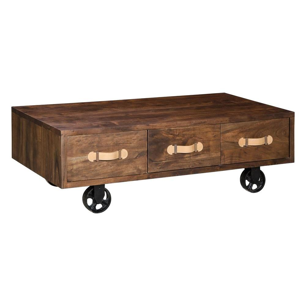 ZUO Oaktown Distressed Walnut Wood Low Table