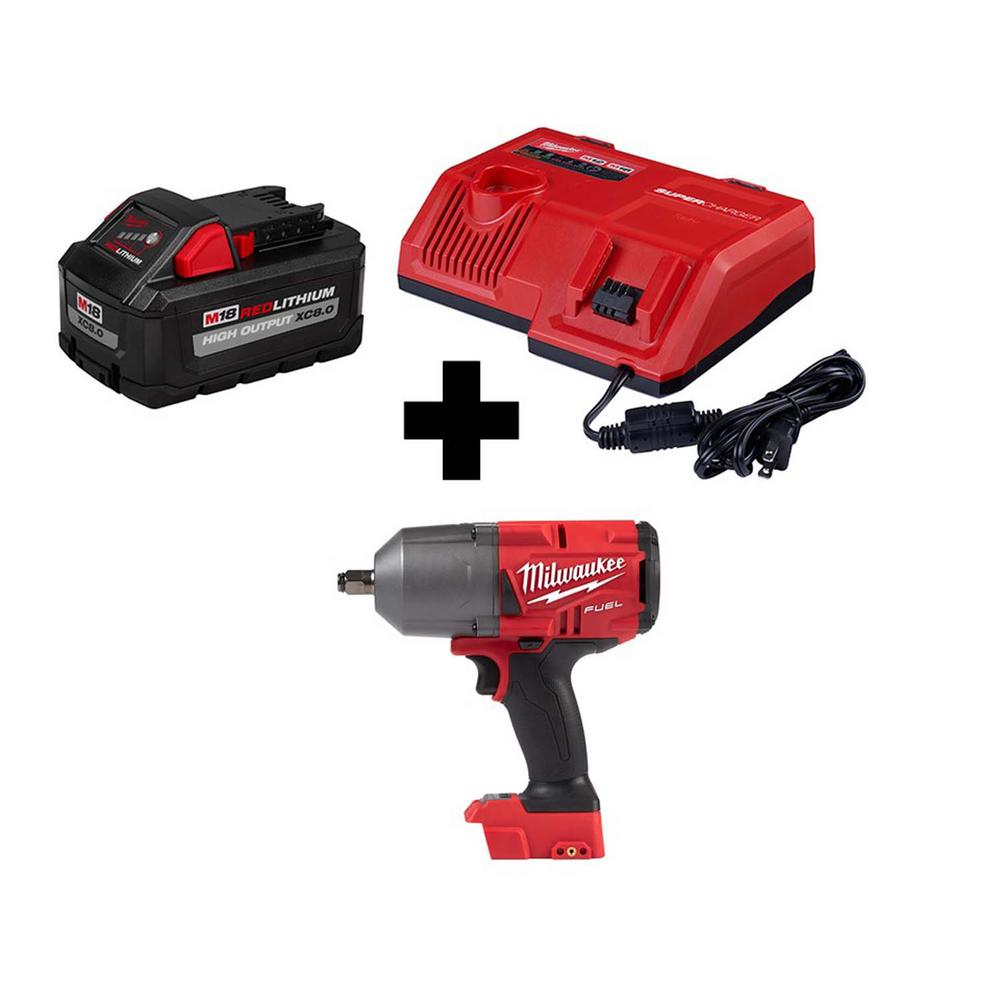 Milwaukee M18 FUEL 18-Volt Lithium-Ion Brushless Cordless 1/2 in. Impact Wrench Friction Ring with Super Charger & 8.0 Ah Battery