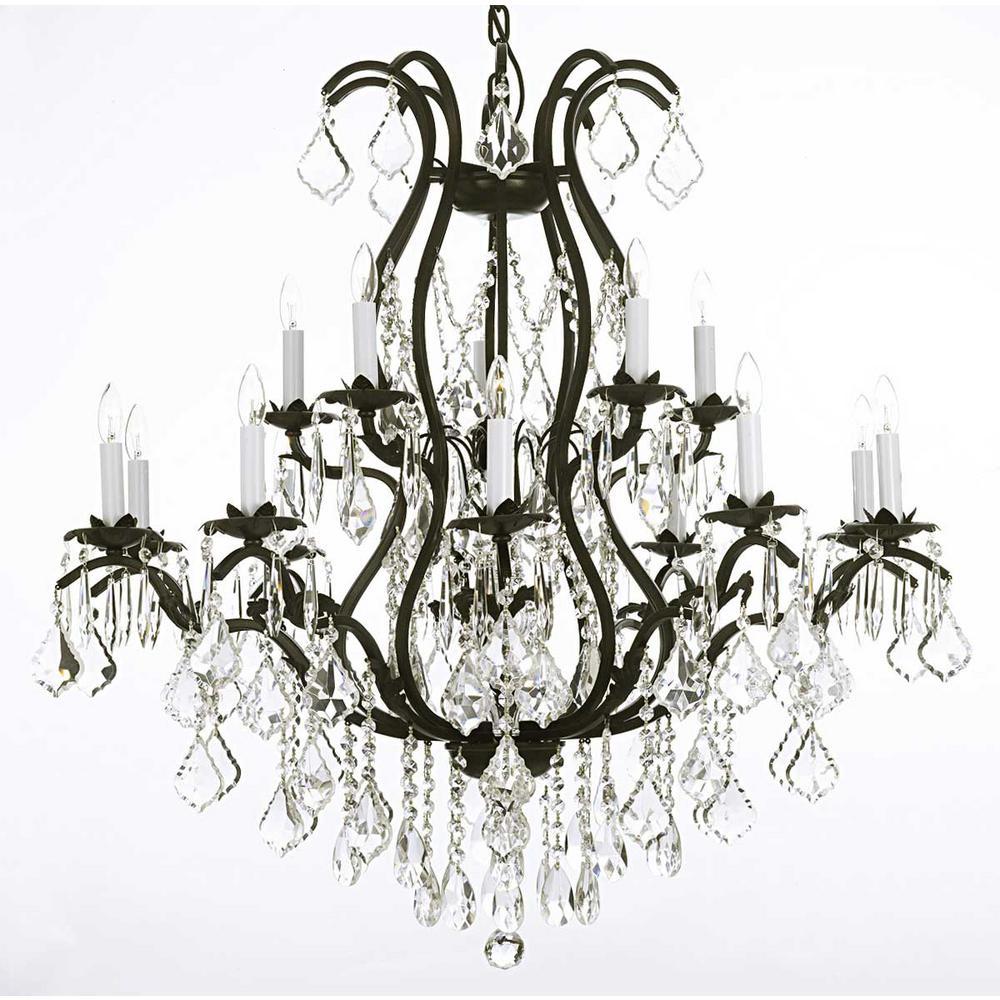 Versailles 15 Light Black Wrought Iron